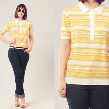 70s Terry Polo Shirt / Stripes Polo Shirt / White and Yellow Polo Shirt