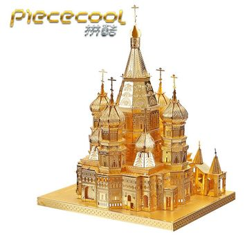 Piececool Saint Basils Cathedral P014-G Model Building DIY 3D Assembling Laser Cut Metal Jigsaws Kits Puzzle Toys - Gold