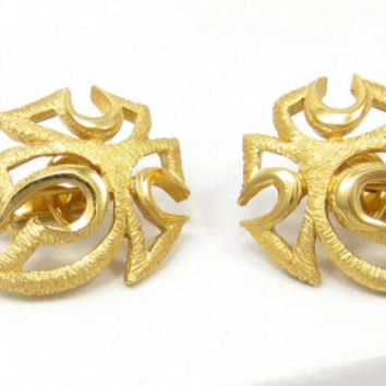 Crown Trifari Clip Earrings Gold Tone Abstract Design Matte Brushed Gold Mid Century Modern Vintage Jewelry Designed Signed Open Work