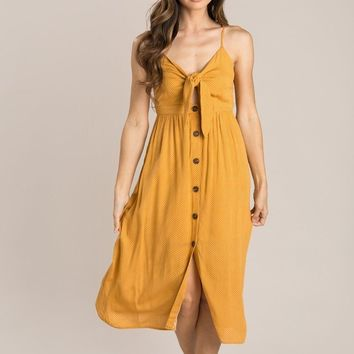 Tawny Mustard Polka Dot Midi Dress