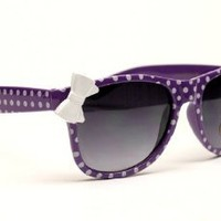 Kids Girls Wayfarer Polka Dots Bow Vintage Sunglasses Kd210 (white / red, UV400)