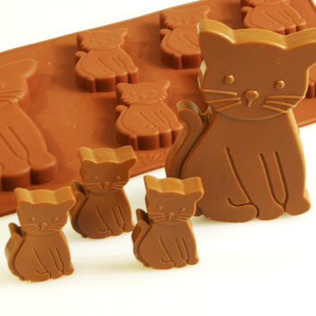 6+1 Cat / Kittens / Animals -  Novelty Chocolate Silicone Mould Candy Cake Topper Silicon Mold - resin / craft / wax / soap