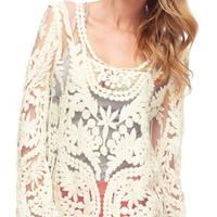 'The Jael' Embroidery Floral Lace Crochet Cut-Out Sheer Sleeve T-shirts
