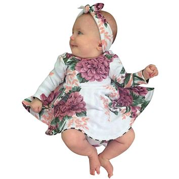 MUQGEW Baby Girl Floral Printed Dress+Headband Outfits long sleeve Clothes Vestido Infantil Menina 1 Year Birthday Dress