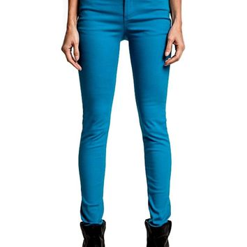 Mid Rise Skinny Jeans, Turquoise (Size S)