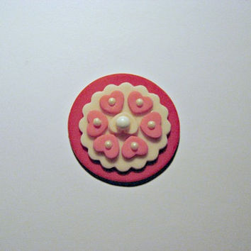 Cute little Valentine Fondant Cupcake Toppers. Set of 12 (one dozen)