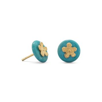 14 Karat Gold Plated Over Sterling Silver Flower and Turquoise Disk Stud Earrings