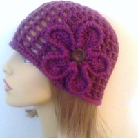 Purple Womens Crochet Beanie Hat, Purple Flower Hat