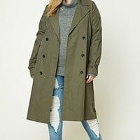 Plus Size Longline Trench Coat
