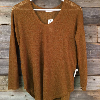 THIN SWEATER TOP - CAMEL