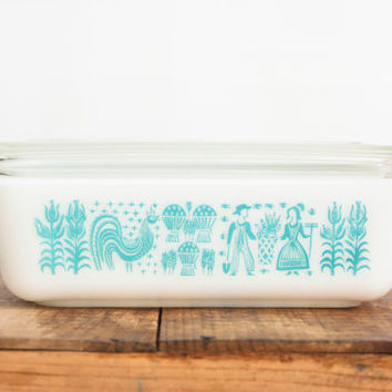 Vintage Large Pyrex Butterprint Refrigerator Dish with lid, Amish Print Turquoise Blue, 503 1 1/2 Quart