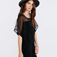Short Sleeve Mesh Accent Mini Dress
