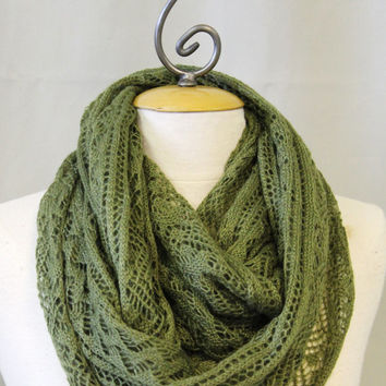 Olive green lightweight knit aztec geometric knit pattern chuncky infinity, loop, chunky scarf accessory womens scarf