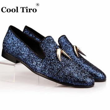 Shark Tooth Tassel Loafers Men's Flats Sequins Slippers Shoes Party wedding Navy blue Glitter Mens Dress Shoes Genuine Leather