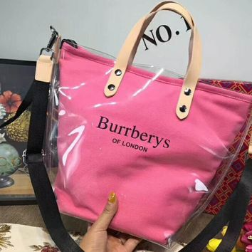 Burberry casual fashion canvas transparent jelly bag candy color raincoat bag tote bag F-AGG-CZDL