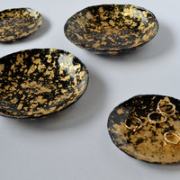 Black & Gold Leaf Polymer Clay Jewellery Dish Size Large