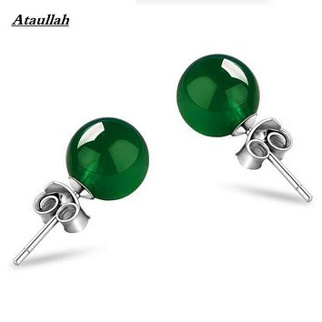 Real 925 Silver Natural Opal Jade Agate Women Stud Earrings Fashion Anti-allergy 925 Jewelry Girl Gift Brand Ataullah EWC029