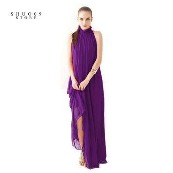 Women Elegant Bohemian Beach Dress Hang-Neck Sexy Chiffon Halter Dress Floor Length Dress Perfect Woman Two kinds of wear method
