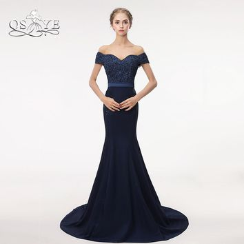 QSYYE Navy Blue Long Mermaid Prom Dresses 2018 Robe de Soiree Off the Shoulder Sweetheart Lace Beaded Formal Evening Party Gowns