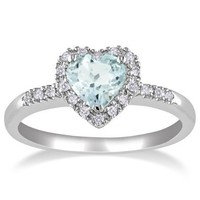 Sterling Silver Aquamarine and Diamond Heart Ring (0.1 cttw, G-H Color, I2-I3 Clarity): Jewelry