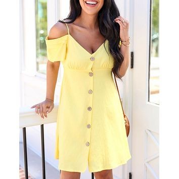 Fashion New Solid Color Leisure Short Sleeve Dress Women Yellow