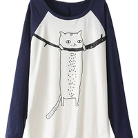 Blue Cat Pattern Long Sleeve T-shirt