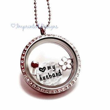 Couples Charm Locket / Floating Charm Locket / Love My Husband / Couple Necklace