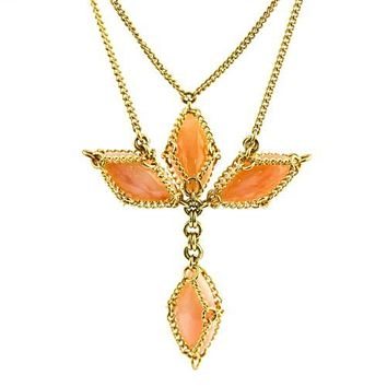 Anthony Nak Pink Opal Cross Necklace in 18k Yellow Gold