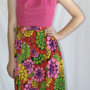 Vintage 60s Neon Pink Maxi Dress w/ Vibrant Colored Print Skirt- Size S M