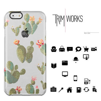 floral cactus clear phone case, iPhone 6s case, iPhone clear case, iPhone silicon case, iPhone case, rubber transparent case
