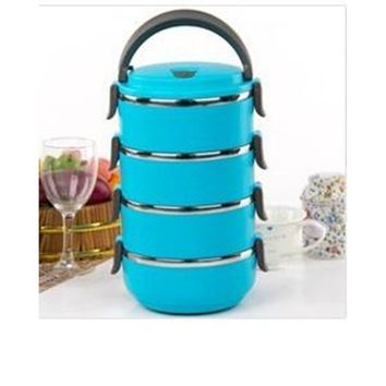 Container Handle Food 1-4 Layers Thermal Insulated Lunch Box Stainless Steel