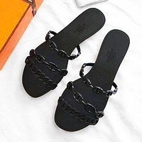Hermes Fashion Women Casual Black Flat Sandals Slippers Shoes