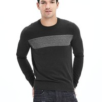 Banana Republic Mens Marled Stripe Silk Cotton Cashmere Pullover