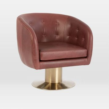 Tufted Pedestal Leather Swivel Chair