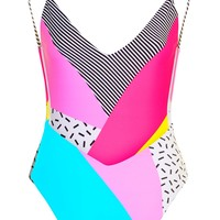 '80s Patchwork Swimsuit | Topshop