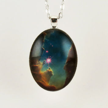 Outer Space Galaxy Pendant Nebula Necklace Cosmic by cellsdividing