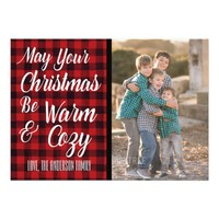 Cozy Watercolor Christmas Plaid Photo Card