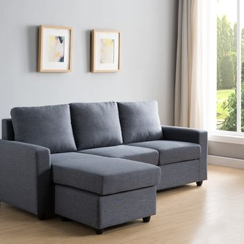 Wood & Fabric 3-Seat Reversible Sectional Sofa With Ottoman, Gray