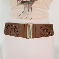 New Banana Republic Women Elastic Brown Faux Leather Wide Fashion Belt S/M M/L