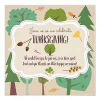 Forest themed Thanksgiving Invite