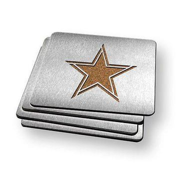 Dallas Cowboys NFL Stainless Steel Sportula Boasters - Set of 4 Coasters