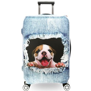 Luggage Cover Protector 3D Printed Suitcase Cover Animal Pattern Flexible Elastic Protection Suitcase Protetive Dustproof Covers