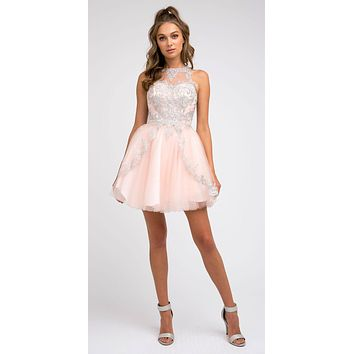 Short Fit and Flare Blush Dress High-Neck Embroidered Bodice