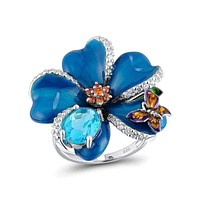 Silver Flower 925 Sterling Silver Fashion Cubic Zirconia Ring