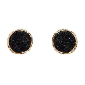 LMFXT3 Humble Chic Round Simulated Druzy Studs - Sparkly Bezel Set Circle Post Earrings