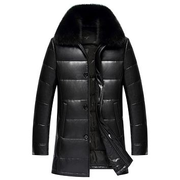 Long PU Fabric Duck Down Coat Men Excellent Real Fox Collar