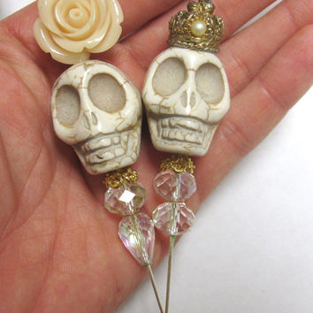 King & Queen Day of the Dead Cake Topper Sugar Skull Gothic Wedding Caketopper Pin Bride Groom