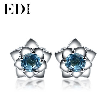Beauty and The Beast Style Earrings 925 Sterling Silver Solitaire Round Blue Topaz Rose Stud Earrings Fashion Flower Earrings