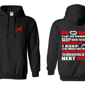 Doberman Now I Lay Me Down To Sleep Beside The Bed My Doberman I Keep Hoodie