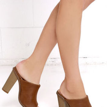 Pretty in the City Cognac Peep-Toe Mules